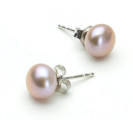 Lavender Button 7.5-8mm Freshwater Cultured Pearl Stud Earrings Sterling Silver