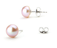 Pink Button 7.5-8mm Freshwater Cultured Pearl Stud Earrings Sterling Silver