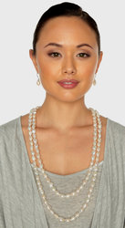 """Iridescent White Baroque Freshwater Cultured Pearl Rope 65"""" (10-11mm)"""