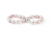 """Lavender Oval Freshwater Cultured Pearl Bracelet Silver 7.5"""" (8-8.5mm)"""