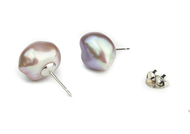 Lavender 10-11mm Baroque Freshwater Cultured Pearl Stud Earrings 14K White Gold (AAA Gem)