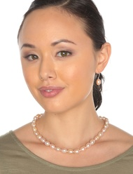 """Pink Baroque Freshwater Cultured Pearl Necklace Silver 18"""" (10-11mm)"""