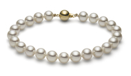 "White Freshwater Cultured Pearl Bracelet 14K Gold 7.5"" (AAA Gem)"