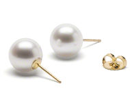 White Round Freshwater Cultured AAA Pearl Stud Earrings 14K Gold (Gem Collection)