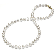 "White Round Freshwater Cultured Pearl Necklace 14K Gold 18"" (AAA Gem)"