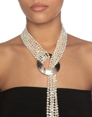 """Cleopatra"" 6-Strand Lustrous White Cultured Freshwater Pearl & Shell Lariat Y Necklace"