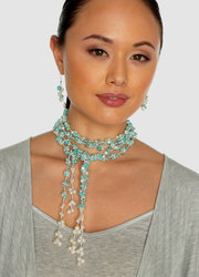 "2-Strand Handcrafted  Turquoise & Freshwater Cultured Pearl Lariat ""Chyenne"""