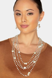 "Ultra-Iridescent 4-Strand Handwoven White Freshwater Cultured Pearl Necklace ""Celeste"" (Brown Thread)"