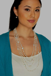 "Ultra-Iridescent 4-Strand Handwoven White Freshwater Cultured Pearl Necklace (White Thread) ""Destiny"""