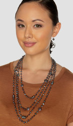 "Ultra-Iridescent 4-Strand Handwoven Multicolored Black Freshwater Cultured Pearl Necklace (Brown Thread) ""Selena"""