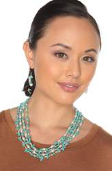 """2-Rope Turquoise & Freshwater Cultured Pearl Necklace & Dangle Earrings Set """"Maria"""""""
