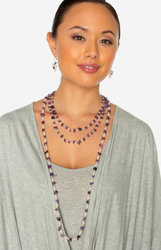 "2-Rope Amethyst & Freshwater Cultured Pearl Rope Necklace & Dangle Earrings ""Amelia"""