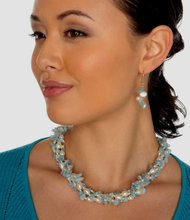 "2-Rope Aquamarine Blue Beryl & Freshwater Cultured Pearl Rope Necklace & Dangle Earrings ""Sky"""