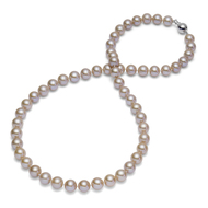 "Pink Round AAA Freshwater Cultured Pearl Necklace 18"" Princess Length"