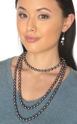 Multicolor Black Oval Freshwater Cultured Pearl Rope Necklace