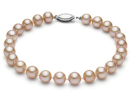 Pink Round Freshwater Cultured Pearl Bracelet 14K White Gold 7.5 inch (AAA Gem)