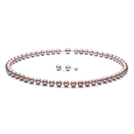 Pink AAA Freshwater Cultured Pearl Necklace & Stud Earrings {Set} White Gold 14K (GEM)