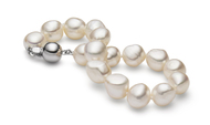 White Baroque 10-11mm Freshwater Cultured Pearl Bracelet 7.5""