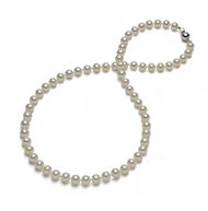 White AAA Round Freshwater Cultured Pearl Necklace Silver