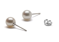 White Round Freshwater Cultured AAA Pearl Stud Earrings