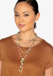 "2-Rope Multi-Colored Stone & Freshwater Cultured Pearl Necklace & Dangle Earrings ""Mardi Gras"""