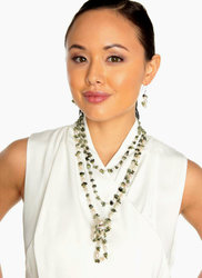 "2-Rope Moss Green ""Snakeskin"" Jasper & Freshwater Cultured Pearl Necklace & Dangle Earrings ""Olive"""