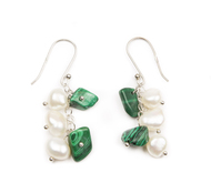 Gemstone & Freshwater Cultured Pearl Dangle Earrings, 10 Color Styles
