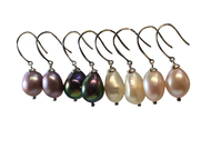Large Baroque Freshwater Cultured Pearl Dangle Earrings (9-9.5mm) Silver, 4 Color Styles