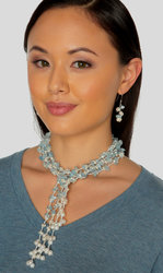 "2-Strand Handcrafted Aquamarine Blue Beryl & Genuine Freshwater Cultured Pearl Lariat Necklace ""Cordelia"""