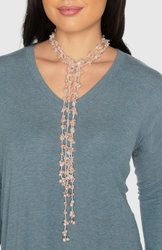 "2-Strand Handcrafted Rose Quartz & Genuine Freshwater Cultured Pearl Lariat Necklace ""Rosemarie"""