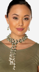 "2-Strand Handcrafted Green Snakeskin Jasper & Genuine Freshwater Cultured Pearl Lariat Necklace ""Lauren"""