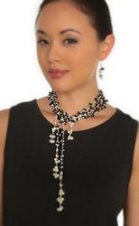 "2-Strand Handcrafted Black Onyx & Genuine Freshwater Cultured Pearl Lariat Necklace ""Lupita"""