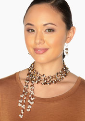 "2-Strand Handcrafted Tiger Eye & Genuine Freshwater Cultured Pearl Lariat Necklace ""Hayden"""