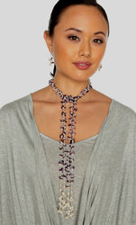 "2-Strand Handcrafted Amethyst & Genuine Freshwater Cultured Pearl Lariat Necklace ""Chloe"""