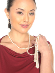 "White AAA 7-7.5mm Freshwater Cultured Pearl Tassel Lariat Sautoir Necklace 44"" - 2 Styles"