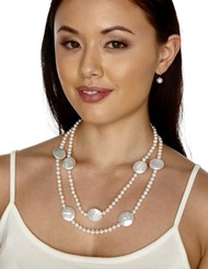 Adele - White AAA 6-6.5mm Freshwater Cultured Pearl Rope Necklace with 22mm Coin Pearl Accents